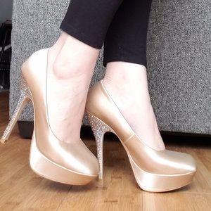 Steve Madden satin rhinestone heels
